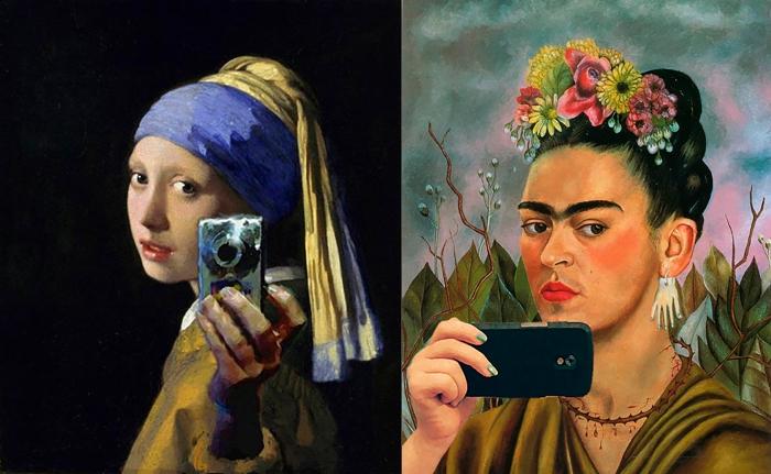 Na moda do #selfie, Moça com brinco de pérola (Vermeer) + Frida Kahlo (paródias sem autoria identificadas)