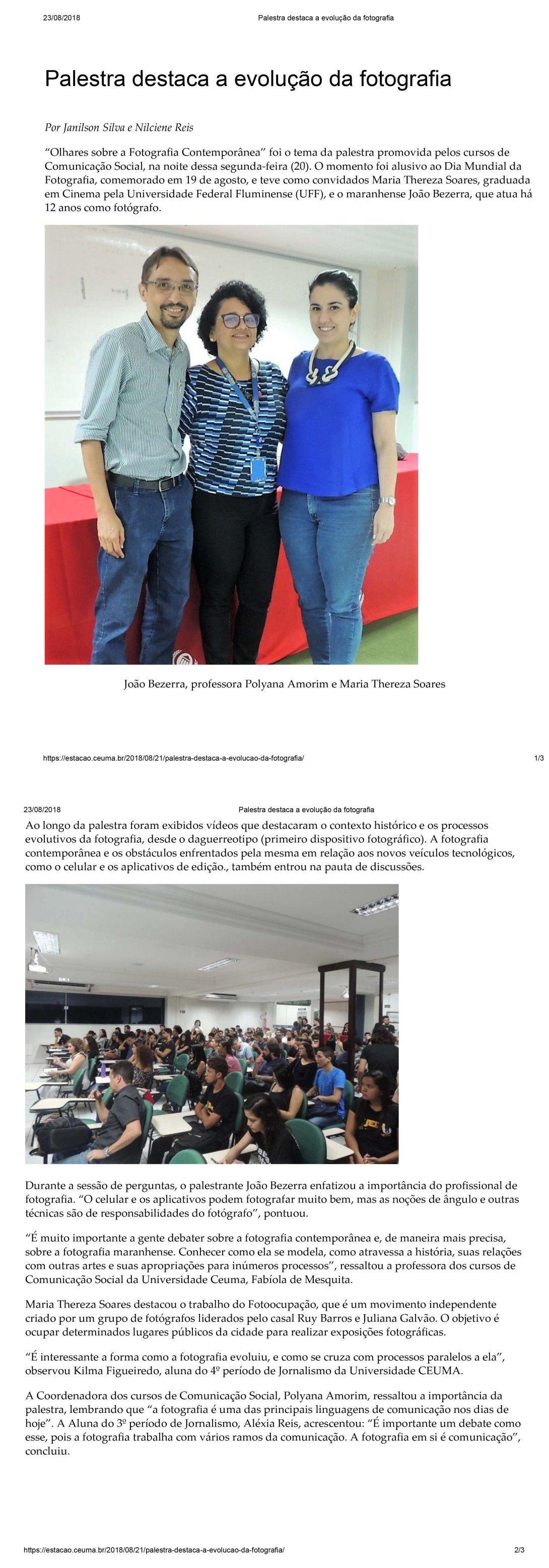Palestra Fotografia Contemporanea Uniceuma 20 ago 2018 red